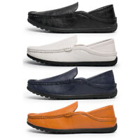 Black Men Shoes Moccasin Fashion PU Leather Leisure Summer Boat Driving Slip On