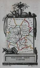 Uncommon original antique map, WORCESTER, SHROPSHIRE, STAFFORDSHIRE, Perrot,1823