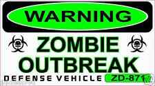 Zombies Outbreak Permit Decal Sticker Funny Helmet Hardhat ATV Toolbox 2.75 x 5