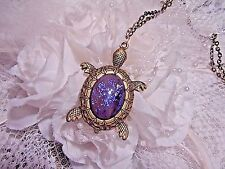 JRB SEA TURTLE BLUE PURPLE FIRE OPAL PENDANT NECKLACE BEACH MERMAID BRONZE OCEAN