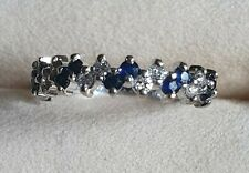 18ct White Gold Diamond And Sapphire Ring. UK Size K/L