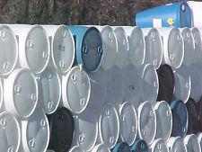 Quantity of 100 blue & white 55 gallon plastic drums drum barrel barrels pick up
