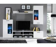 Anbauwand Wohnwand Wohnzimmerschrank Schrankwand Weiss mit LED ca. 230 cm breit