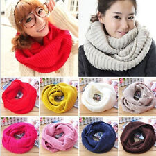 Women Winter Warm Infinity  Cable Knit Cowl Neck Long Scarf Shawl Charm
