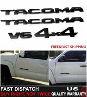 4PCS 2016-20 Toyota Tacoma Tag MATTE Black Door Emblem Decal Badge Nameplate OEM