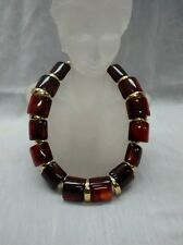 Stunning statement vtg. Napier modernist brown Lucite  gold tone collar necklace