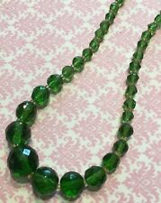Vtg Art Deco Czech Green Vaseline Uranium Glass Bead Choker Necklace-Estate