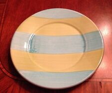 RARE VINTAGE POTTERY BARN Blue & Green Stripe Salad Dessert Plate Made In Italy