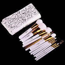 MSQ PRO 15PCs Makeup Brush Set Foundation Cosmetic Tool Synthetic PU Case Arabic
