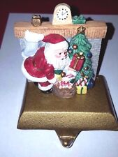 Santa chimney fireplace mantle Christmas holiday stocking holder