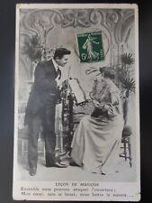 French Romance: LECON DE MUSIQUE No.1 Violin & Mandoline THE MUSIC LESSON c1909
