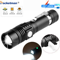 Super Bright T6/L2/V6 LED Flashlight Rechargeable 3 Modes Zoom Torch Light 18650