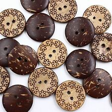 J215 10pc 32L 20mm Real Coconut Shell Engrave Flower Pattern Button DIY Crafts