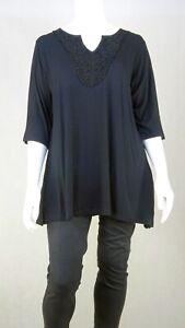 Sara Fashion Black Blouse 2X by Reluv Clothing