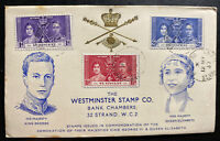 1937 Edinboro St Vincent First Day Cover FDC King George VI Coronation KG6