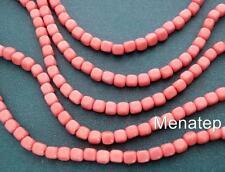 50 4 x 4 mm Czech Glass Cube Beads: Opaque Pink