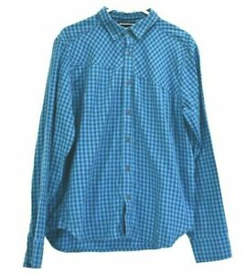 Black Diamond Men Large Casual Long Sleeve Button Up Checkered Shirt Blue Grey