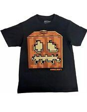 Minecraft Halloween Pumpkin Glow In The Dark Shirt Black Orange Spooky XL NWT