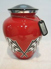 207 NASCAR Racing Red Adult Funeral Memorial Cremation Urn & free dog tag