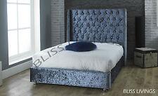 WINGED Crushed Velvet Fabric Upholstered Bed Frame Storage, 4'6ft Double, 5ft