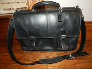 COACH F06455 Black Leather Thompson Executive Messenger Bag Laptop Briefcase