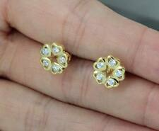 24K GOLD OVER 925 STERLING SILVER HEARTS FLOWER CZ STONE STUD EARRINGS E828G