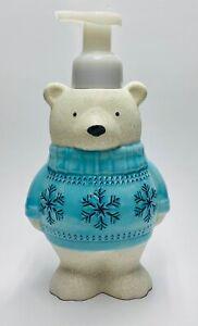 1 Bath Body Works POLAR BEAR IN BLUE SWEATER Soap Dispenser Holder Foaming