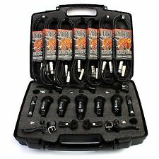 Drum Microphones Set Nordell 7 PCE Mic Kit 5 Rim Clips 7 XLR Cables Case
