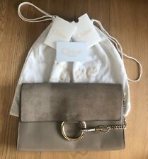 Chloe Faye Motty Grey Suede Leather Clutch Bag