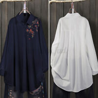 Women Blouse Long Sleeve Loose Office Workes Cotton Basic Embroidery Shirt Tops