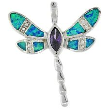 Sterling Silver Opal Dragonfly Pendant w/ Clear & Amethyst Color CZ Stones