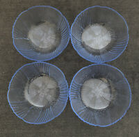 "VINTAGE 80's LIBBEY HARMONY BERRY BOWL PALE BLUE CLEAR GLASS 5""W x 2""H Set of 4"