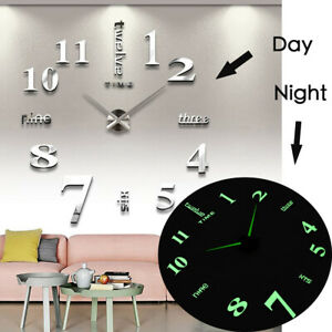27/37 inch 3D DIY Wall Clock Silent Large Quartz Luminous Wall Night Clocks NEW