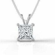 1 CT Solitaire Enhanced Diamond Pendant Princess F/SI1 18K White Gold