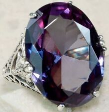 Elegant 925 Sterling Silver Purple Amethyst Wedding Engagement Ring Size: 10