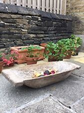 More details for large european carved wooden dough bowl trencher rustic trough pig salter