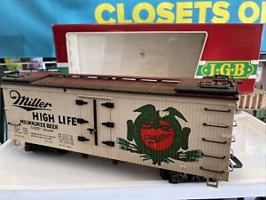 LGB Train G Scale EXCELLENT 4072 MILLER High Life Beer Car Reefer 93169 w/BOX