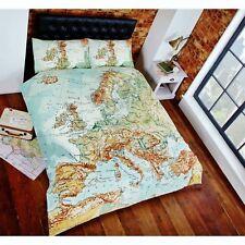 Atlas World Map Duvet Quilt Cover Bedding Set Single Double King