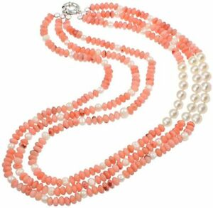 Three Rows Natural Pink Coral and Freshwater Pearl Necklace for Women