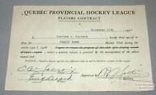 1921-22 Grand-Mere QPHL Charles Lacroix Hockey Contract