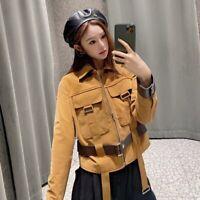 Damen Original Schaffell Leder Jacken Mode Leder Mantel 2021 Frühling 49088