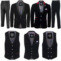 Mens Black Velvet Vintage 3 Piece Suit Tuxedo Blazer Coat Waistcoat Trouser