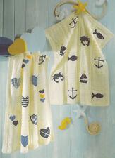 Hearts Nautical Seaside Boat Anchor Fish Baby Blankets DK Knitting Pattern
