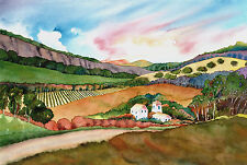 Napa Valley Summer in the Winery Vineyard Print - Wine Country Watercolor