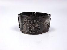 Vintage CM Peru Sterling Silver Panel Wide Link Llama Bracelet, 48.9g