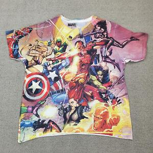 Marvel Super Hero Shirt Women's 2X Mad Engine All Over Print Spiderman Iron Man