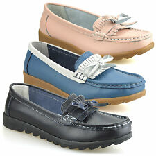 Ladies Womens New Leather Flat Casual Slip On Moccasin Fringe Loafers Shoes Size