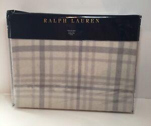 "Ralph Lauren Wool Throw Blanket Conard Check 54"" X 72"" Cream Plaid"