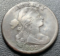 1802 Large Cent Draped Bust One Cent 1c High Grade XF Details #2013