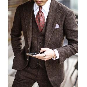 Mens Suit Red-Brown Notch Lapel 3Piece Tweed Herringbone Formal Business Wedding